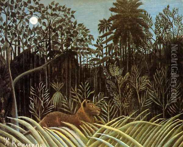 Jungle with Lion Oil Painting - Henri Julien Rousseau