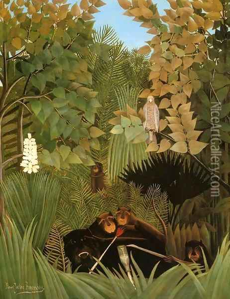 The Merry Jesters Oil Painting - Henri Julien Rousseau