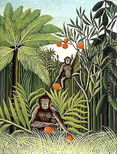 Two Monkeys in the Jungle Oil Painting - Henri Julien Rousseau