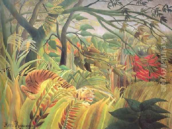 Tiger In A Tropical Storm Surprised Oil Painting - Henri Julien Rousseau