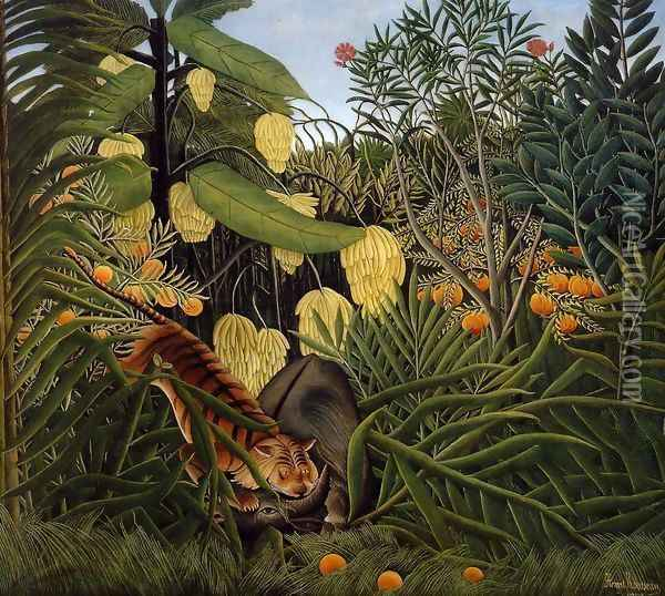 Fight Between A Tiger And A Buffalo Oil Painting - Henri Julien Rousseau