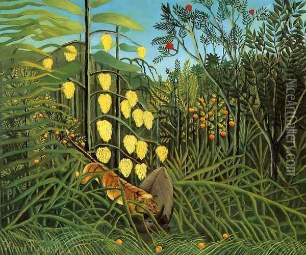 Combat Of A Tiger And A Buffalo Oil Painting - Henri Julien Rousseau