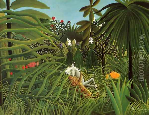 Horse Attacked by a Jaguar Oil Painting - Henri Julien Rousseau
