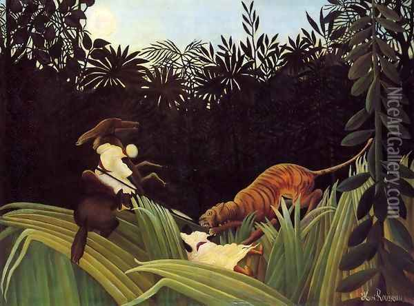 Scout Attacked By A Tiger Oil Painting - Henri Julien Rousseau