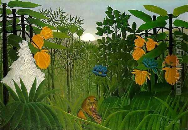 The Repast Of The Lion Oil Painting - Henri Julien Rousseau
