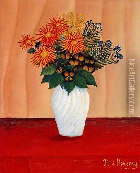 Bouquet Of Flowers Oil Painting - Henri Julien Rousseau
