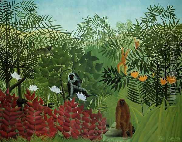 Tropical Forest With Apes And Snake Oil Painting - Henri Julien Rousseau