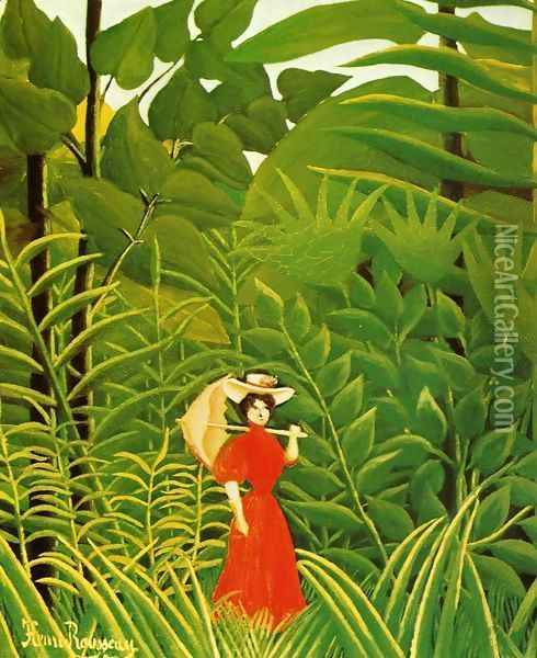 Woman With An Umbrella In An Exotic Forest Oil Painting - Henri Julien Rousseau