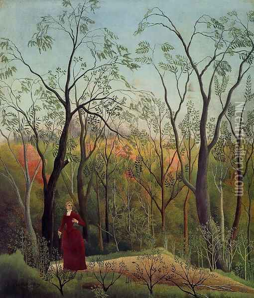 Forest Promenade Oil Painting - Henri Julien Rousseau