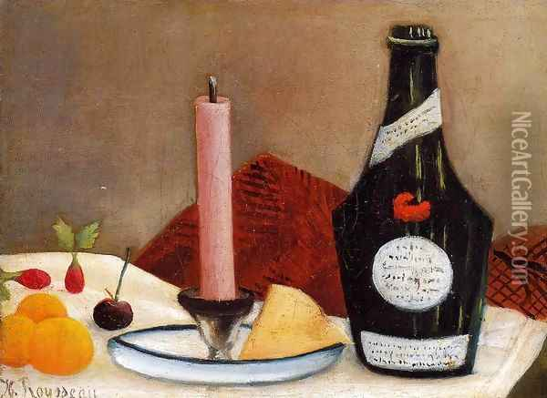 The Pink Candle Oil Painting - Henri Julien Rousseau