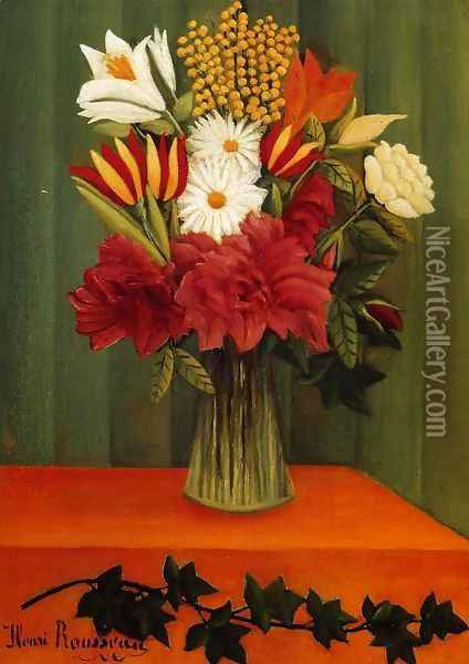 Bouquet of Flowers with an Ivy Branch II Oil Painting - Henri Julien Rousseau