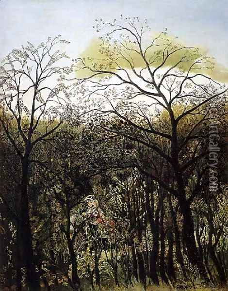 Rendezvous In The Forest Oil Painting - Henri Julien Rousseau