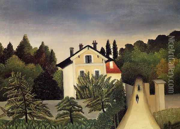 Landscape On The Banks Of The Oise Area Of Chaponval Oil Painting - Henri Julien Rousseau