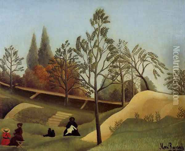 View Of The Fortifications Oil Painting - Henri Julien Rousseau
