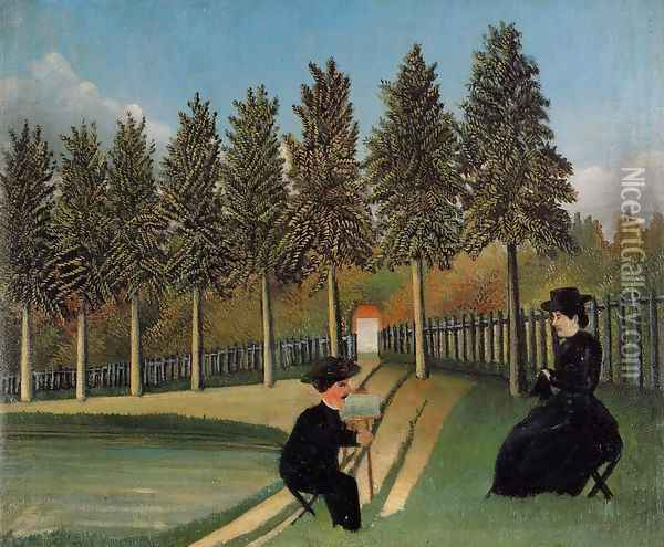 The Painter and His Wife Oil Painting - Henri Julien Rousseau