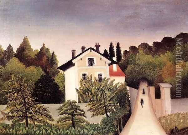 House on the Outskirts of Paris Oil Painting - Henri Julien Rousseau
