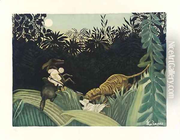 Chasse au Tigre (Ginestet and Pouillon 641) Oil Painting - Henri Julien Rousseau