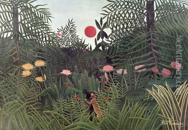 Negro Attacked by a Jaguar 1910 Oil Painting - Henri Julien Rousseau