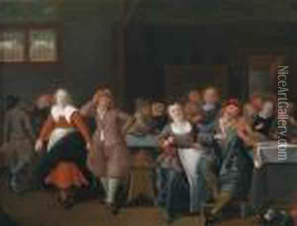 A Boisterous Group In A Tavern Oil Painting - Jan Miense Molenaer