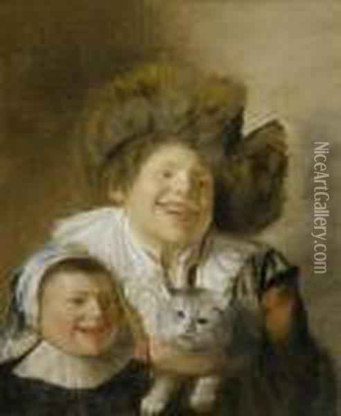 Two Children With A Cat Oil Painting - Jan Miense Molenaer