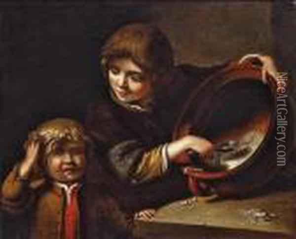 Two Children Having A Meal Oil Painting - Jan Miense Molenaer