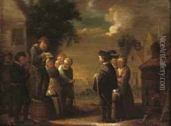 A Group Of Peasants Listening To A Travelling Singer Oil Painting - Jan Miense Molenaer