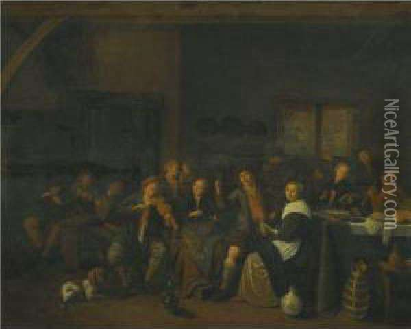 A Tavern Interior With Numerous Peasants Making Music And Merrymaking Oil Painting - Jan Miense Molenaer