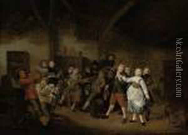 Peasants Making Merry In A Tavern Oil Painting - Jan Miense Molenaer