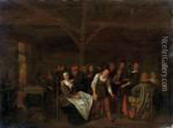 Peasants Playing A Game In A Tavern Oil Painting - Jan Miense Molenaer