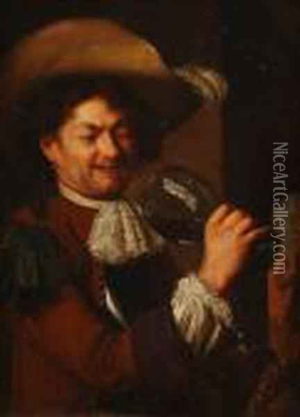 Study Of A Mandrinking From A Roemer Oil Painting - Jan Miense Molenaer