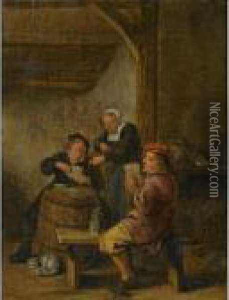 Tavern Interior With Peasants Playing Cards Oil Painting - Jan Miense Molenaer