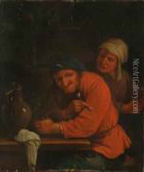 Two Peasants In A Tavern Interior Oil Painting - Jan Miense Molenaer
