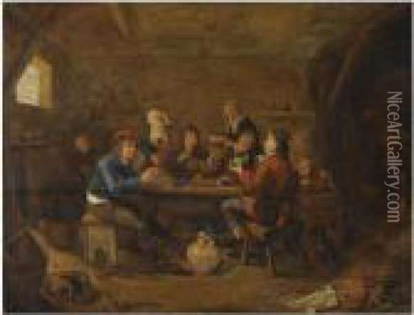 Figures Drinking And Smoking In An Inn, With An Amorous Couplein The Background Oil Painting - Jan Miense Molenaer
