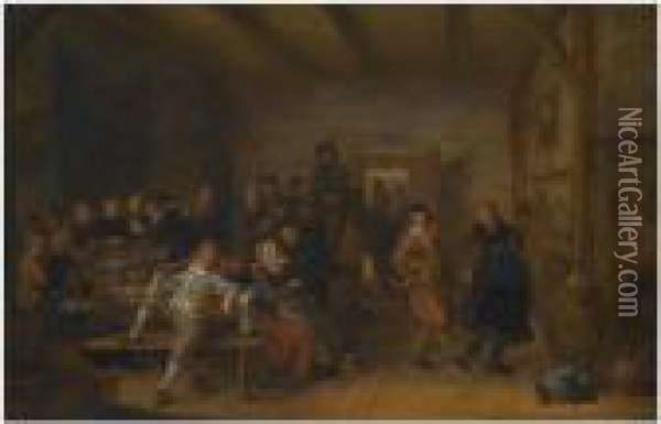 A Tavern Interior With Figures Revelling And Merry-making During Awedding Feast Oil Painting - Jan Miense Molenaer