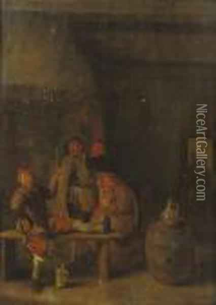 Peasants Drinking And Smoking In An Interior Oil Painting - Jan Miense Molenaer