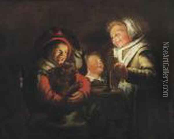 Two Girls And A Boy With A Dog By Candle Light Oil Painting - Jan Miense Molenaer