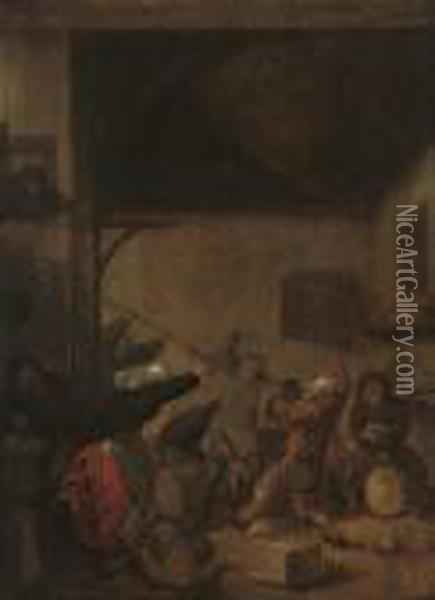 Peasants Brawling In A Tavern Oil Painting - Jan Miense Molenaer