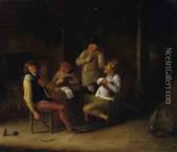 Tavern Scenery. Reveller Making Music In An Amused Round. Rest Of Signiture Below Centre Oil Painting - Jan Miense Molenaer