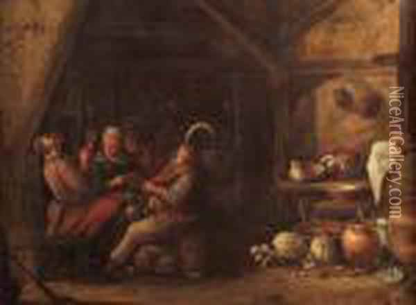 Kitchen Interior With A Group Of Revellers Seated Around A Table Oil Painting - Jan Miense Molenaer