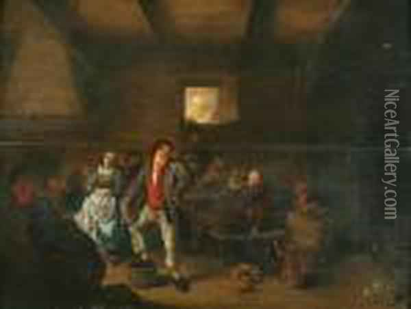 A Tavern Scene With Numerous Figures Oil Painting - Jan Miense Molenaer