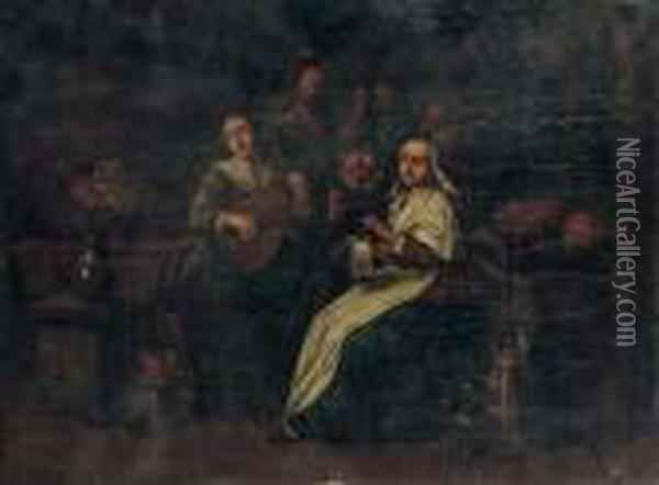 Peasants Making Music In An Interior, A Couple Beyond Oil Painting - Jan Miense Molenaer