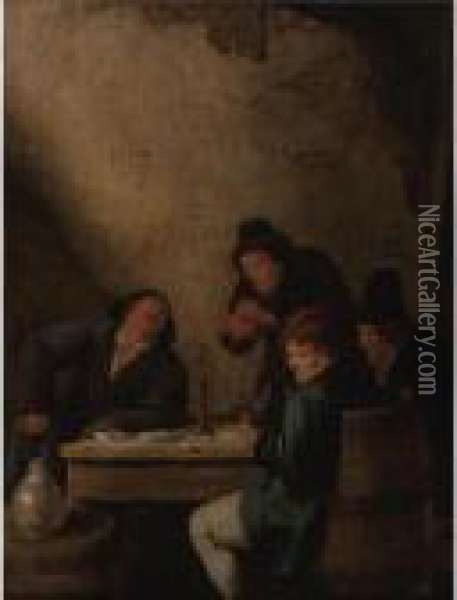 Peasants Drinking In A Tavern Oil Painting - Jan Miense Molenaer