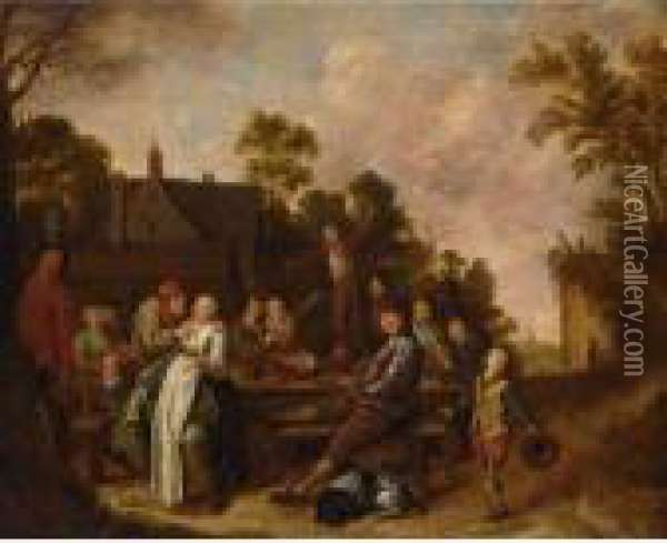 A Merry Company Drinking And Eating Outside An Inn Oil Painting - Jan Miense Molenaer