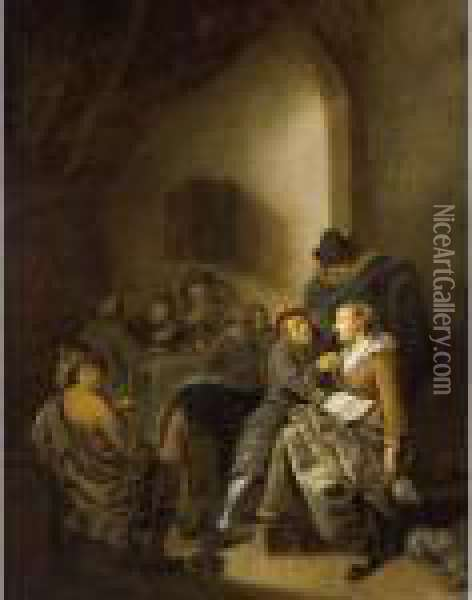 An Amorous Couple In An Inn With  Other Figures Drinking And Playing Cards In The Background Oil Painting - Jan Miense Molenaer