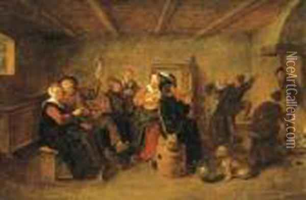 Peasants Drinking And Making Music In A Tavern Oil Painting - Jan Miense Molenaer