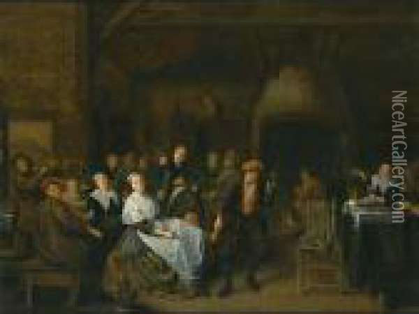 Peasants In An Inn Drinking, Eating And Playing Music, With A Couple Playing Slap Feet Oil Painting - Jan Miense Molenaer
