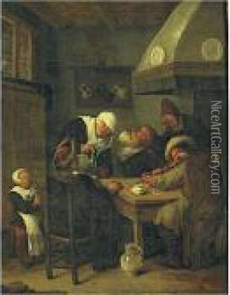 Figures Carousing In An Interior Oil Painting - Jan Miense Molenaer
