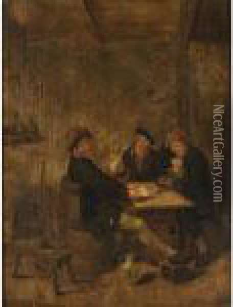 Peasants Drinking And Playing Cards In An Inn Oil Painting - Jan Miense Molenaer
