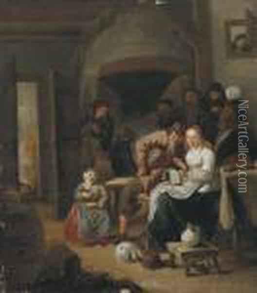 Peasants Singing And Making Merry In An Inn Oil Painting - Jan Miense Molenaer