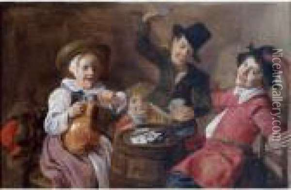 Children Playing Cards Around A Barrel Oil Painting - Jan Miense Molenaer